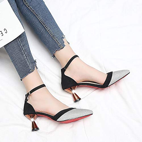 Pink Summer ZHZNVX Shoes Flared Grey Women's Pointed amp; Suede Black Gray Rhinestone Two Heels Piece Heel D'Orsay Toe Bwq1aw