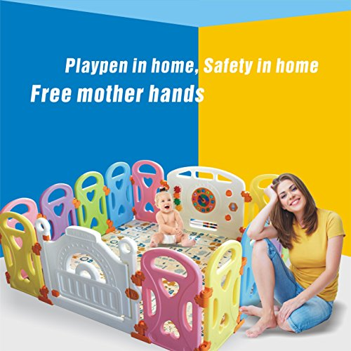 Baby Playpen Kids Activity Centre Safety Play Yard Home Indoor Outdoor With 14 Panels New Pen (Castle)