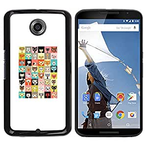 Be Good Phone Accessory // Dura Cáscara cubierta Protectora Caso Carcasa Funda de Protección para Motorola NEXUS 6 / X / Moto X Pro // Kitten Pattern Checkered Cat Cartoon