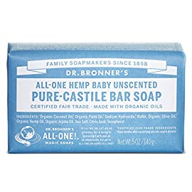 Dr. Bronner's - Pure-Castile Bar Soap (Baby Unscented, 5 ounce, 3-pack) - Made with Organic Oils, For Face, Body, Hair, Gentle for Sensitive Skin, Babies, No Added Fragrance, Biodegradable, Vegan 8 BABY UNSCENTED. With no added fragrance and double the olive oil, our Baby Unscented Pure-Castile Bar Soap is good for sensitive skin - babies too (though not tear-free!). Dr. Bronner's Bar Soap is made with certified fair trade ingredients and organic hemp oil for a soft, smooth lather that won't dry your skin GENTLE SOAP. This moisturizing bar soap offers organic and vegan ingredients for a rich, emollient lather. It is ideal for washing your body or face. With no synthetic detergents or preservatives, you can nourish your skin with every wash. MULTI-USE. This multi-use bar soap can be used on its own as a traditional body or face scrub, or you can dilute it in various recipes for anything from a pest spray to laundry wash. This gentle, yet powerful soap is the ultimate multi-use cleaner.
