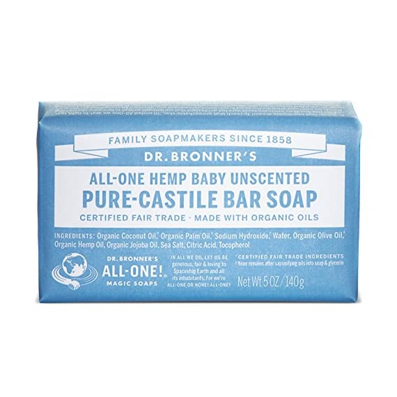 Dr. Bronner's - Pure-Castile Bar Soap (Baby Unscented, 5 ounce, 3-pack) - Made with Organic Oils, For Face, Body, Hair, Gentle for Sensitive Skin, Babies, No Added Fragrance, Biodegradable, Vegan 1 MOISTURIZING LATHER THAT WON'T DRY YOUR FACE, BODY, OR HAIR: Our bar soaps produce a rich lather that won't dry out your skin! Dr. Bronner's is made with only the purest certified organic oils and will leave your skin feeling soft and smooth. MADE WITH ORGANIC OILS THAT ARE GENTLE and EFFECTIVE: We don't add any chelating agents, dyes, whiteners, or synthetic fragrances-only all-natural, vegan ingredients that are gentle, effective, and mild. Use on your face, body, or hair! NO SYNTHETIC PRESERVATIVES, DETERGENTS, OR FOAMING AGENTS: Our Pure-Castile Bar Soap is made with plant-based ingredients you can pronounce-no synthetic preservatives, thickeners, or foaming agents-good for the environment and great for your skin!