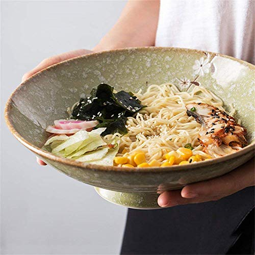 Canju Dining Toolextra Large Soup Ramen Noodle Bowl Fruit Salad Mixing Serving Bowl Creative Hand-Painted Snowflake Cherry Blossom Ceramic Tableware 9.6 Inches Outdoor Camping Lunch Tool