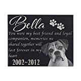 P Lab Personalized Granite Pet Memorial Stone w 'Your Pet Photo' Customized Tombstone - Loss of Pet Gift- Indoor Outdoor Dog or Cat For Garden Backyard 11'' x 8.5'' #13