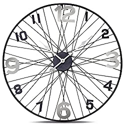 WHW Whole House Worlds Tour de France Bicycle Wheel Clock, Analog, Wall Mounted, Hand Crafted of Stainless Steel, Iron, Over 2 Ft Diameter (27 1/2 Inches) 1 AA Battery (Not Included)