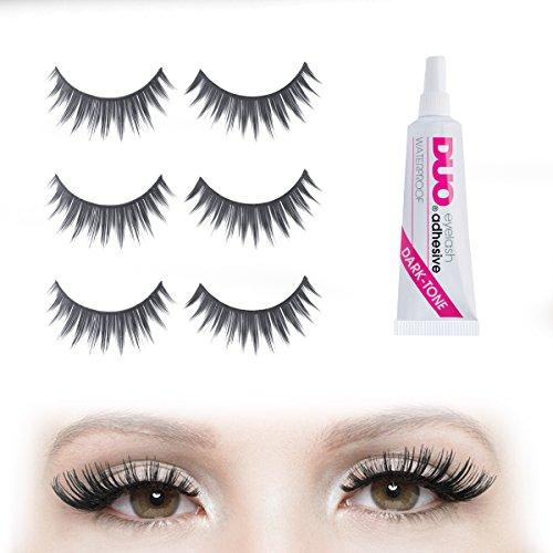 Volume Festival Bushy False Eyelashes Set with DUO Dark Glue | 6 X Strip Falsies for Your Ultimate Eye Makeup Look - Black Fake Eyelashes 3 Pairs - Easy to Apply & Reusable!