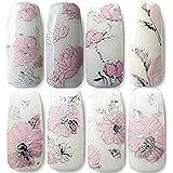 CJESLNA 3D Nail Art Stickers - 2 Sheets Nail Art Decals DIY Decorations Water Transfer Nail Care (Rose)