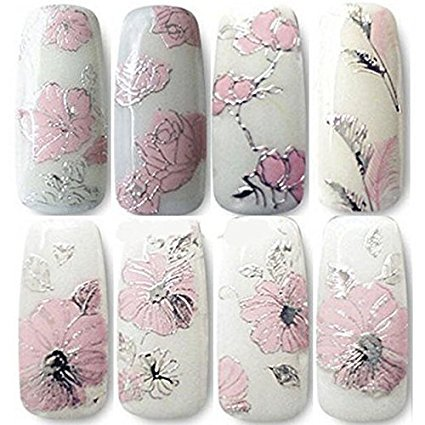 CJESLNA 3D Nail Art Stickers - 2 Sheets Nail Art Decals DIY Decorations Water Transfer Nail Care (Rose)