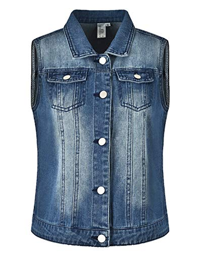 MISS MOLY Women's Denim Vest Washed Cropped Button Up Retro Ripped Sleeveless Jean ()