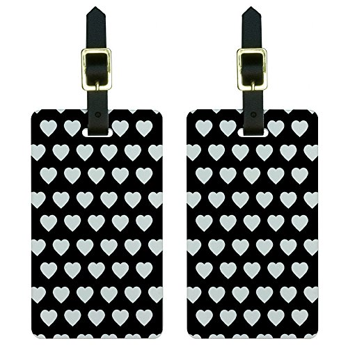 t Heart Pattern Black Luggage Tags Suitcase Carry-on Id, White (Heart Design Luggage Tags)