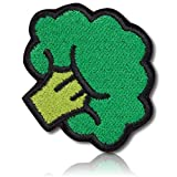 [1 Count Single] Custom and Unique (1.9'' x 2.1'' Inch) Round Circle ''Foodie'' Healthy Snack Time Vegetable Food Broccoli Floret Vegan Design Iron On Embroidered Applique Patch {Green, Lime, & Black}