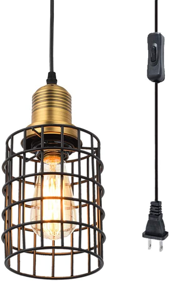 Pauwer Industrial Metal Wire Cage Pendant Light Plug in Ceiling Hanging Light Fixtures Vintage Edison Swag Light with On Off Switch Cord Black