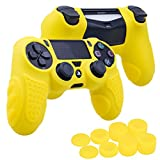 Cheap YoRHa Perfect Grip No Smell Silicone Cover Skin Case for Sony PS4/slim/Pro controller x 1(yellow) With Pro thumb grips x 8