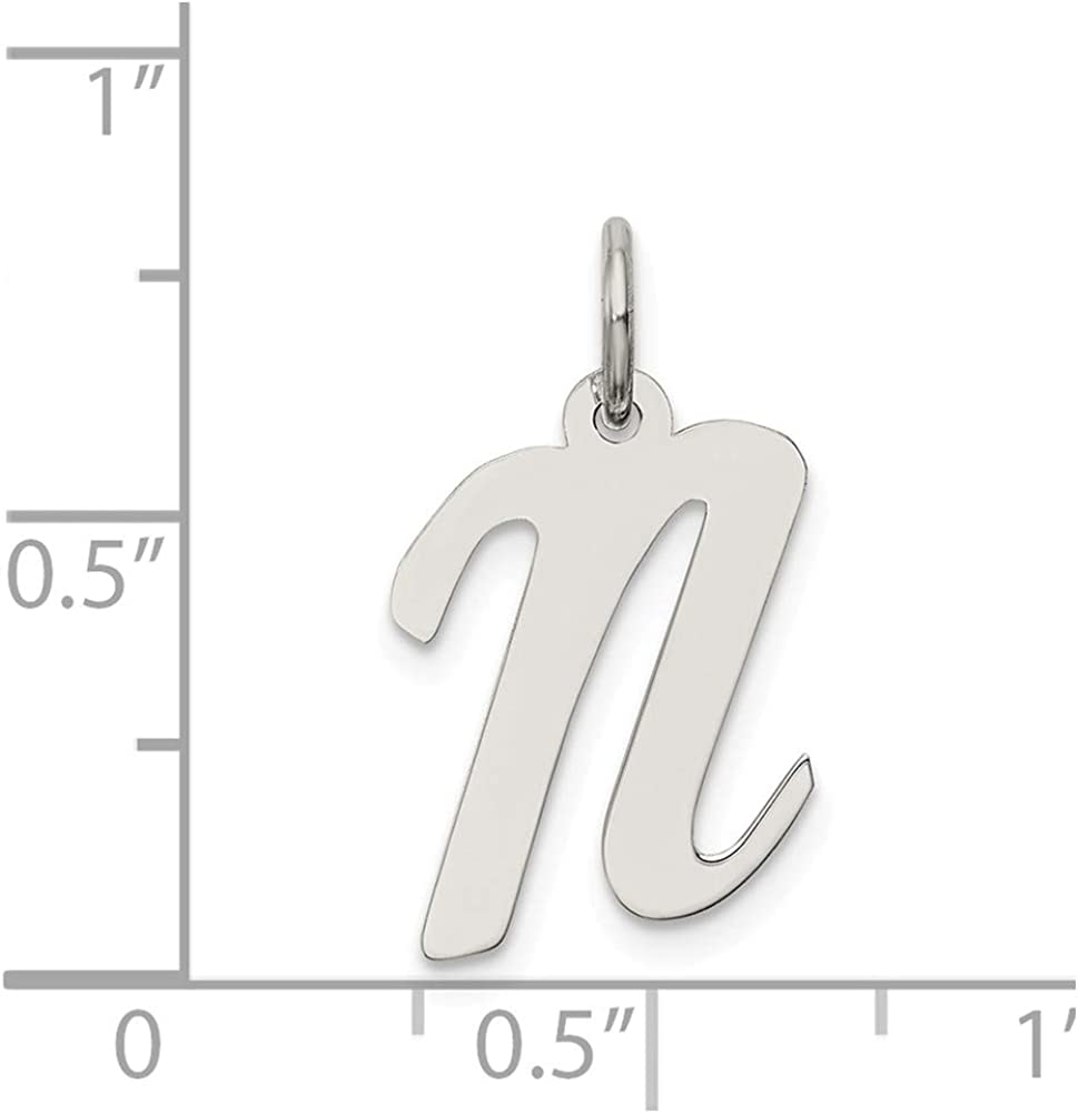 925 Sterling Silver Medium Script Initial N Charm and Pendant