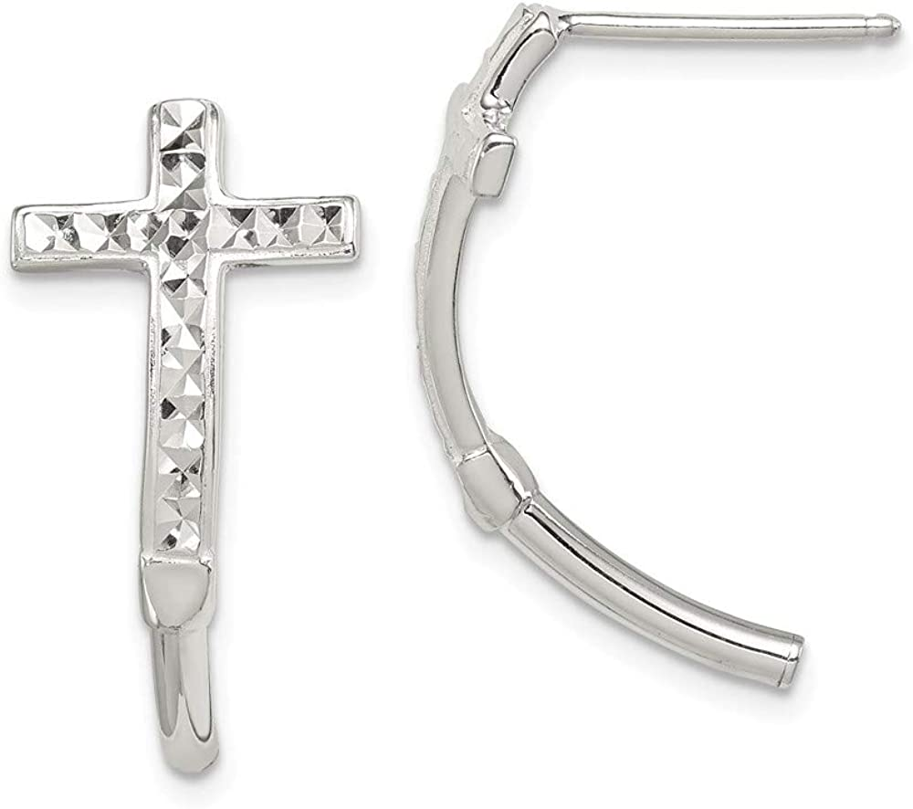 Sterling Silver Diamond Schnitt Cross J Hoop Earrings