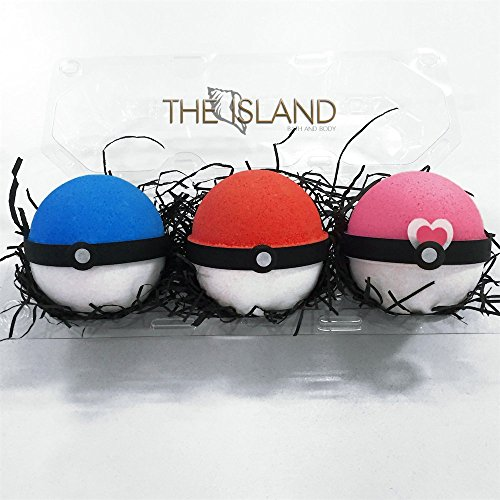 3 XL Pokeball Surprise Bath Bomb Gift Set - XL 5.5 oz each-The Island Bath & Body-Made In USA- Shea & Cocoa Butter