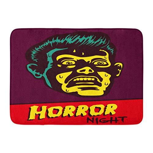 Jugbasee Doormats Bath Rugs Outdoor/Indoor Door Mat Horror Night Halloween Party Movie Event Terrified Vintage Man Face Afraid of Something Creepy Distracted Bathroom Decor Rug 16 24 inch;]()