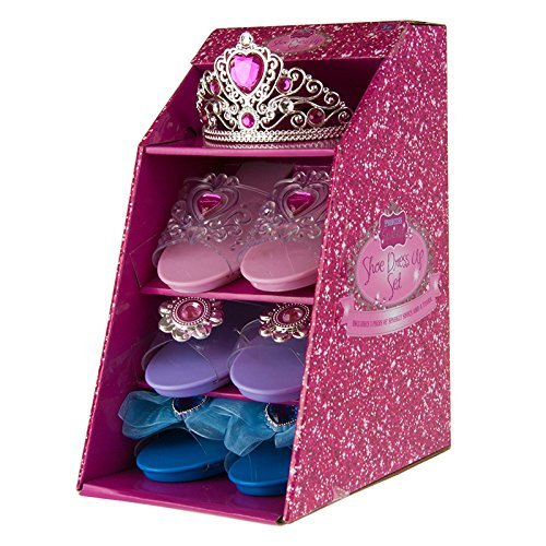 Girls Pink Pretty Princess Shoes Diamante Dress Up Fancy Gift Set (Set of 3 Shoes & Pink Tiara)