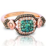 LeVian Chocolate & Blueberry Diamond Cushion Shaped Halo Ring Set in 14K Strawberry Gold