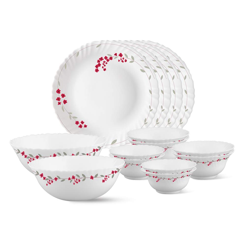 Larah by Borosil Fluted Verona Dinner Set, 14-Pieces, White