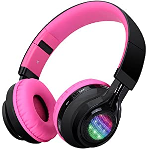 Bluetooth Headset, Riwbox AB005 Wireless Headphones 5.0 with Microphone Foldable Headphones with TF Card FM Radio and LED Light for Cellphones and All Bluetooth Enabled Devices (Black&Pink)
