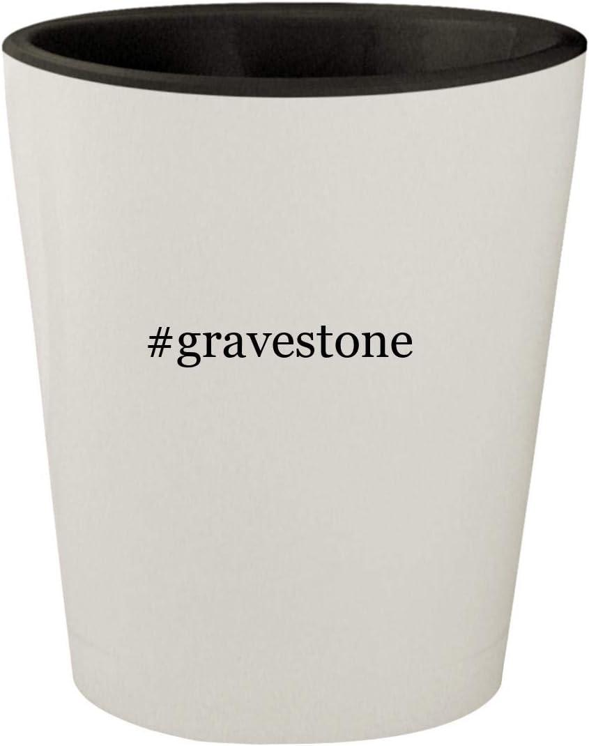 #gravestone - White Outer & Black Inner Hashtag Ceramic 1.5oz Shot Glass
