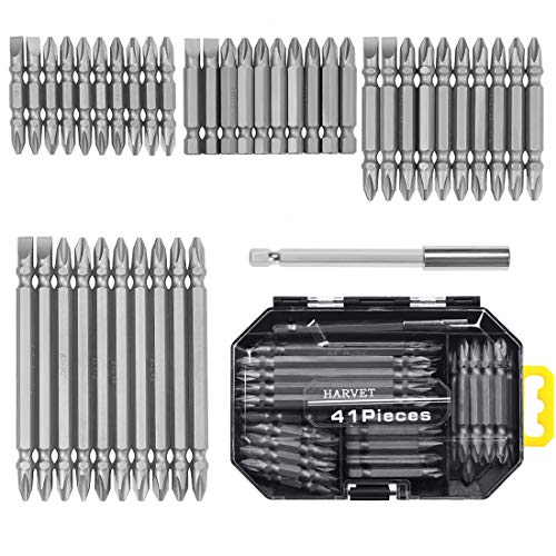 HARVET 41-Piece Screwdriving Bit Set No. 2 Phillips/No. 6 Slotted Double Ended Screw Bit Set - Magnetic Bit Holder and Case