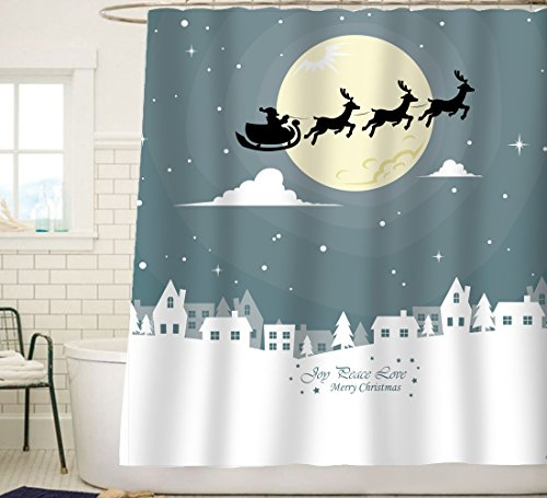 Santa Christmas Fabric (Sunlit Custom Home Decor Christmas Decoration Background Fabric Shower Curtain Santa Sleigh Flying Reindeer Festive Bathroom Novelty for New Year White Pale Blue Printed Window Curtain)