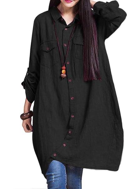 e5c8ef987294 Romacci Women Cotton Long Blouse Irregular Hem Buttons Loose Casual Vintage  Top Shirt Dress White Purple Dark Blue Black Burgundy  Amazon.co.uk   Clothing