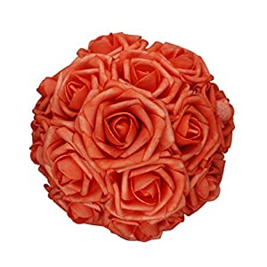 AnParty 25pcs Artificial Flower,Real Touch Artificial Foam Roses Decoration DIY for Wedding Bridesmaid Bridal Bouquet Centerpieces Party (25, Coral)