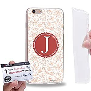 "Case88 [Apple iPhone 6 / 6s Plus (5.5"")] Gel TPU Carcasa/Funda & Tarjeta de garantía - Art Typography Fashion Alphabet J Style"