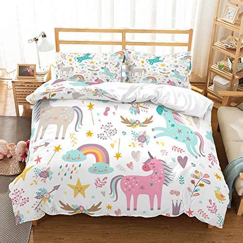 PATATINO MIO Girls Unicorn Duvet Cover Set Twin Pink/Blue/Gray Unicorns Floral Woodland Rainbow Gold Stars White Bedding Set 2 Piece with 1 Pillow Sham,No Comforter
