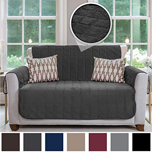 Gorilla Grip Original Velvet Slip Resistant Luxury Loveseat Slipcover Protector, Seat Width Up to 54 Inch Patent Pending, 2 Inch Straps, Hook, Sofa Furniture Cover for Pets, Dogs, Love Seat, Charcoal