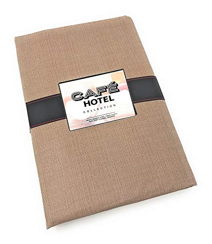 Cafe Hotel Linen Look Solid Color Heavy 4 Gauge Vinyl Flannel Backed Tablecloth, Indoor/Outdoor Wipe Clean Tablecloth, 52 Inch x 70 Inch Oblong/Rectangle, Taupe