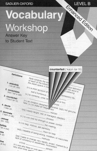 Vocabulary Workshop Level B Answer Key Book By Jerome