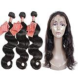 Moda Mode Hair Brasileño Body Wave Hair 360 Lace Frontal Closure With Virgin Hair Bundles, Extensiones de cabello humano sin procesar (20 22 24 + 18 pulgadas de cierre)