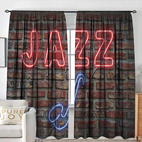 Petpany Pattern Curtains Music,Image of Alluring Neon All Jazz Sign with Saxophone Instrument on Brick Wall Print, Red Blue,All Season Thermal Insulated Solid Room Drapes 54