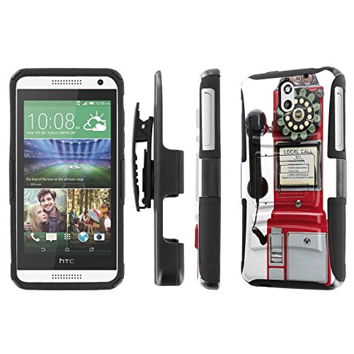 HTC Desire 610 Case, [NakedShield] [Black/Black] Heavy Duty Holster Armor Tough Case - [Pay Phone] for HTC Desire 610