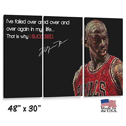 lagifi Three Panel Split Canvas Wrap - Michael Jordan - MJ Quote- Sports Wall Decor-Autograph - Canvas on Wood Frame - 1.5