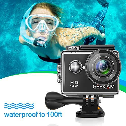 GeeKam Kids Action Camera 1080P Waterproof Sports Camera Kids Toy for Boy Girls Holiday Birthday Gift with 2.0 inch LCD Screen and Mounting Accessories Kit(Black) by GeeKam (Image #2)