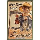 Nostalgic Art 40361132219 Cartello Wer Bier trinkt hilft der Landwirtschaft, Acciaio, Multicolore, 30 x 20 x 0.2 cm