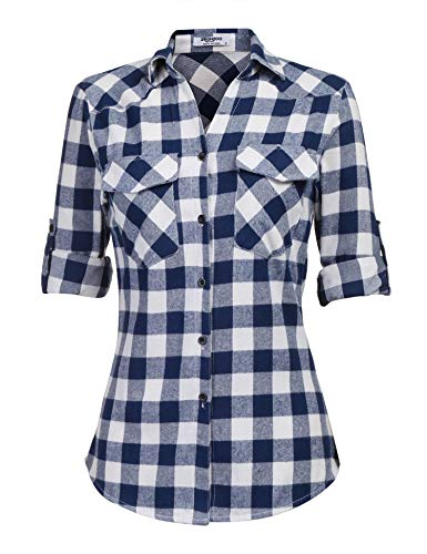 Zeagoo Womens Plaid Flannel Shirts, Rolled Sleeves Buttoned Boyfriend Gingham Shirts, Dark Blue, Medium ()