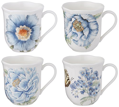 Lenox Butterfly Meadow Assorted Blue Mug, Set of 4