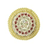 Wrapables Round Vintage Floral Placemat with Gold Embroidery, 7-Inch, Regal Red, Set of 2