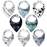 Lekebaby Baby Bandana Drool Bibs for Boys and Girls Organic Cotton Absorbent Bib for Teething and Drooling, Pack of 8