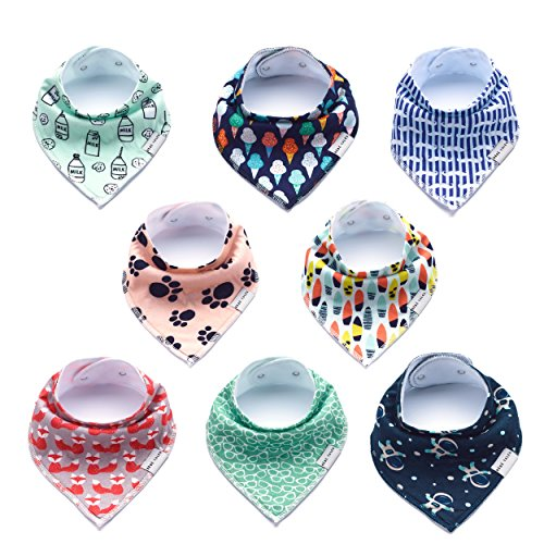 Premium Bandana Bibs for Boys and Girls Extra Soft - 8-Pack Baby Boy Drool Bib for Drooling and Teething, Natural Cotton, Hypoallergenic, Organic, Absorbent, Bandanas for Infant Boys Girls Toddler
