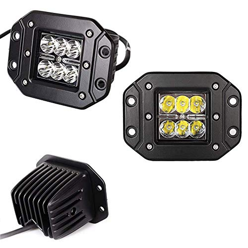 iJDMTOY (2) Dually Flush Mount 24W CREE LED Pod Lights For Truck Jeep Off-Road ATV 4WD 4x4, ()
