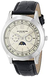 Akribos XXIV Men's AK666XSSW Retro Silver-Tone Watch with Black Leather Band