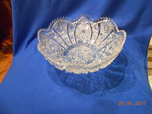 EAPG Hobstar and Cane Crystal Bowl 10.5