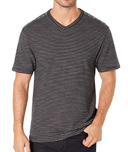 DKNY Mens V Neck Striped Short-Sleeve Tee T-Shirt Blacks (Dkny Short Sleeve Tee T-shirt)