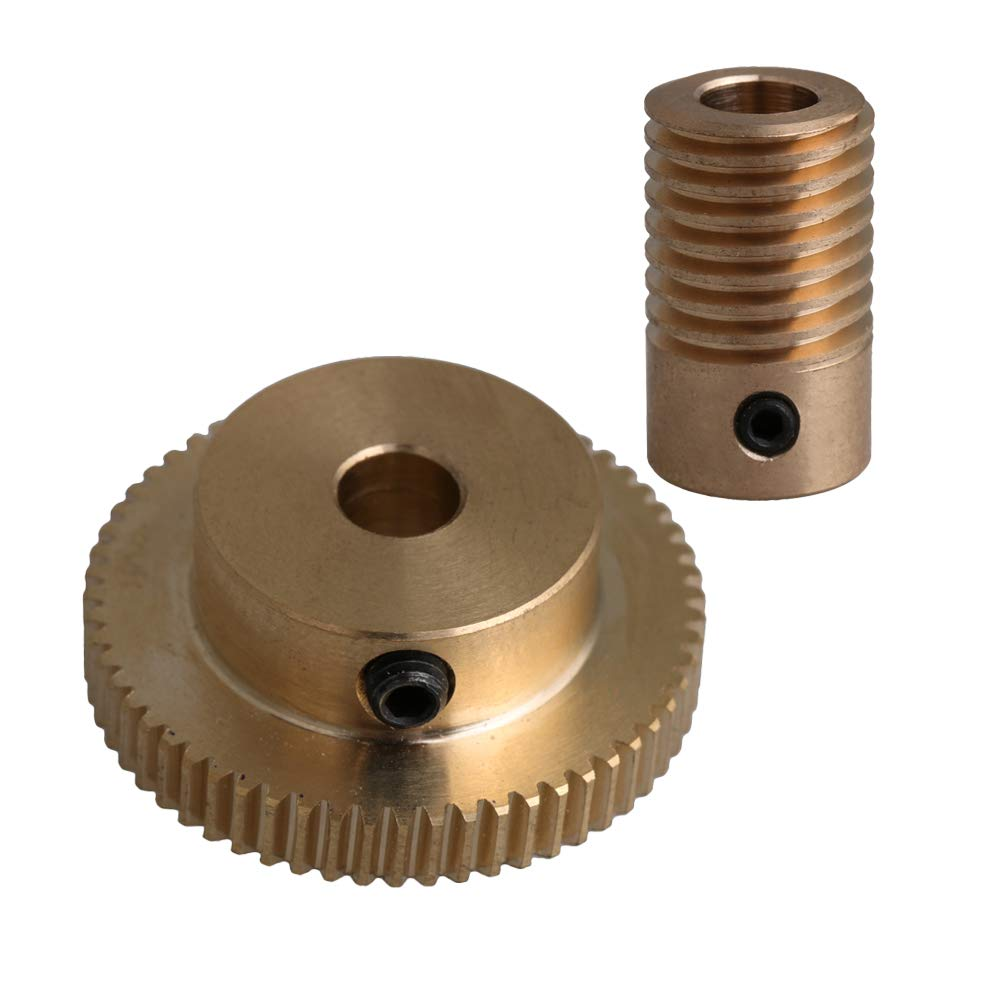 Worm 3 to 6.35mm Hole Dia 0.5 Modulus Brass Gear 20-60 Tooth Drive Gearbox